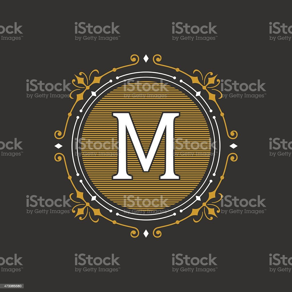 Stylish graceful monogram emblem template. Vector illustration. vector art illustration