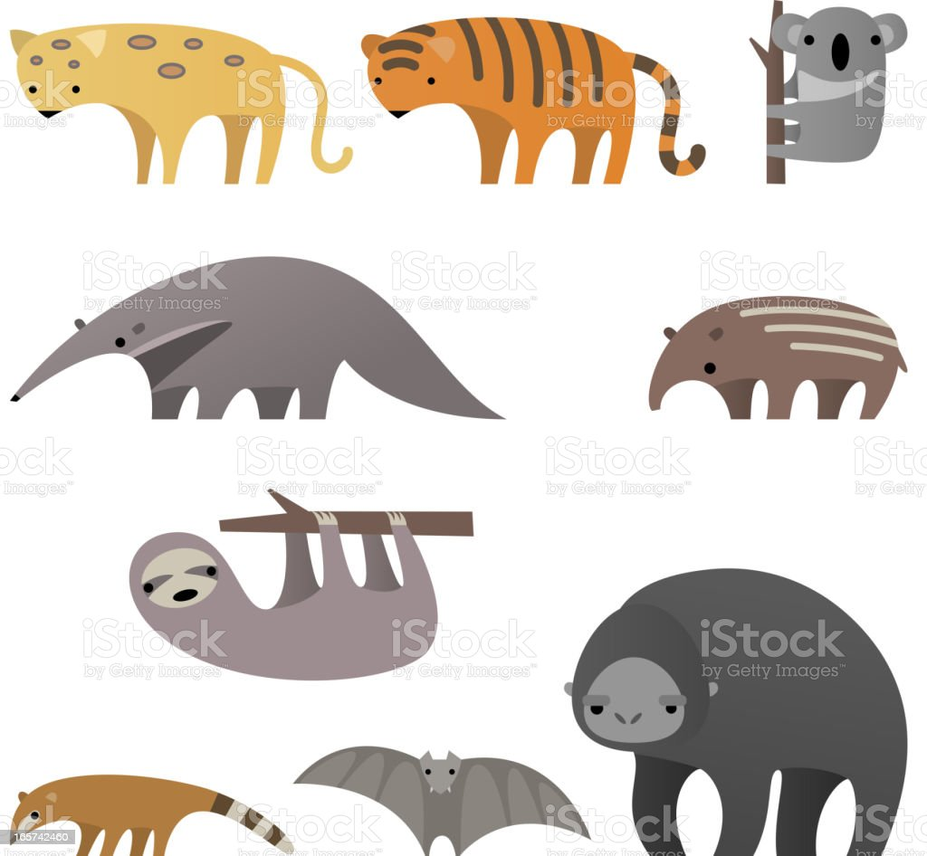 Stylish Jungle animals royalty-free stock vector art