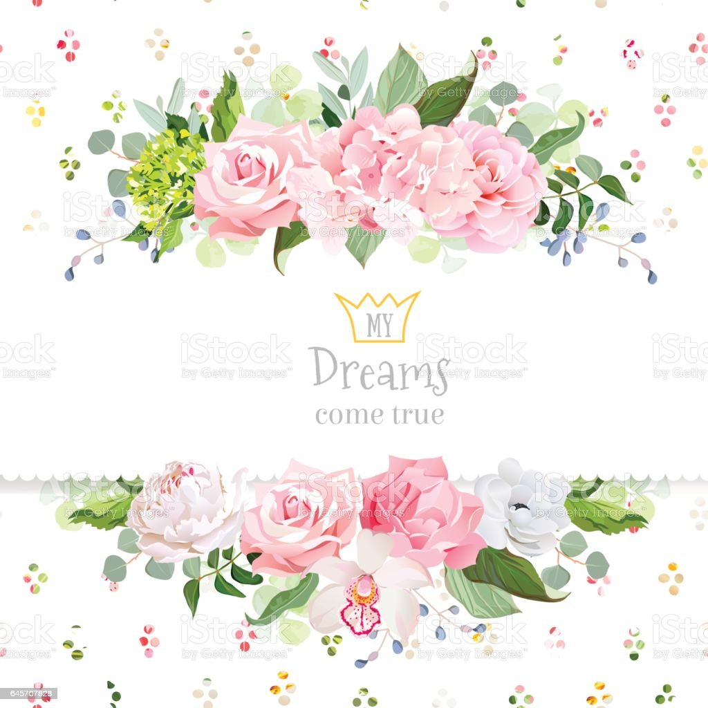 Stylish Mix Of Flowers Horizontal Vector Design Frame Stock Vector Art 645707828