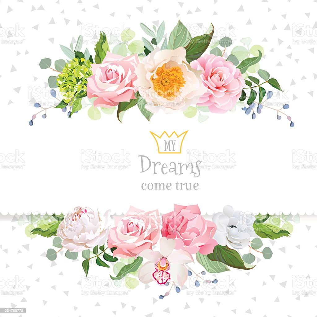 Stylish mixed flowers horizontal vector design frame vector art illustration