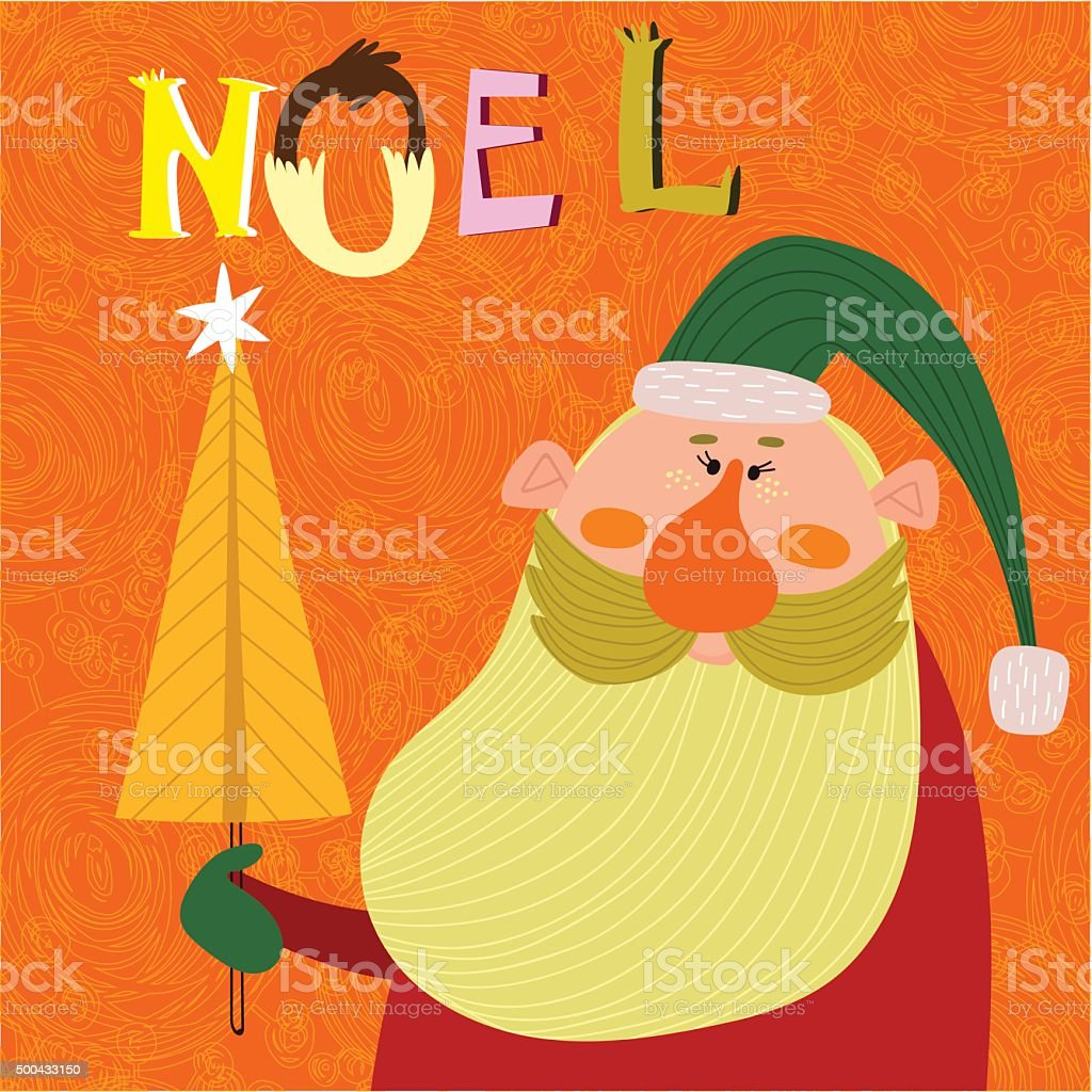 Stylish New Year and Christmas card with funny Santa Claus vector art illustration