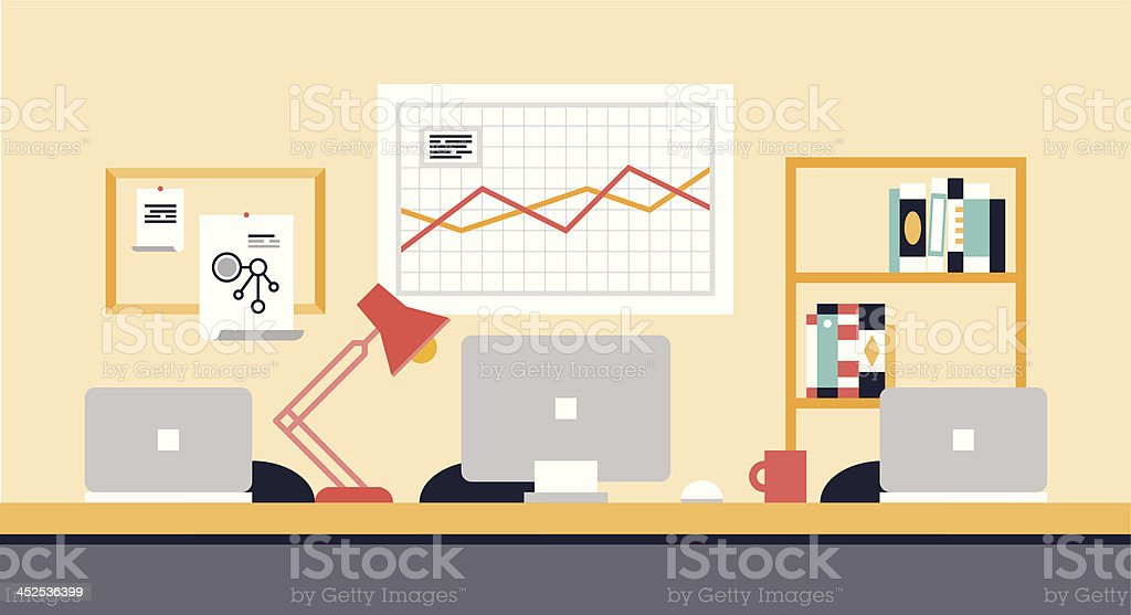 Stylish office workspace for team collaboration vector art illustration