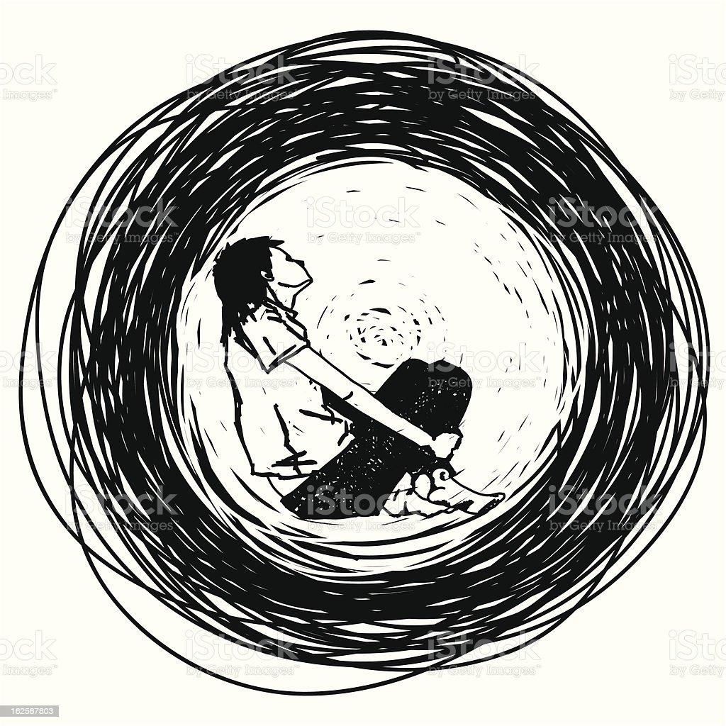 stylish outline of the sadness vector art illustration