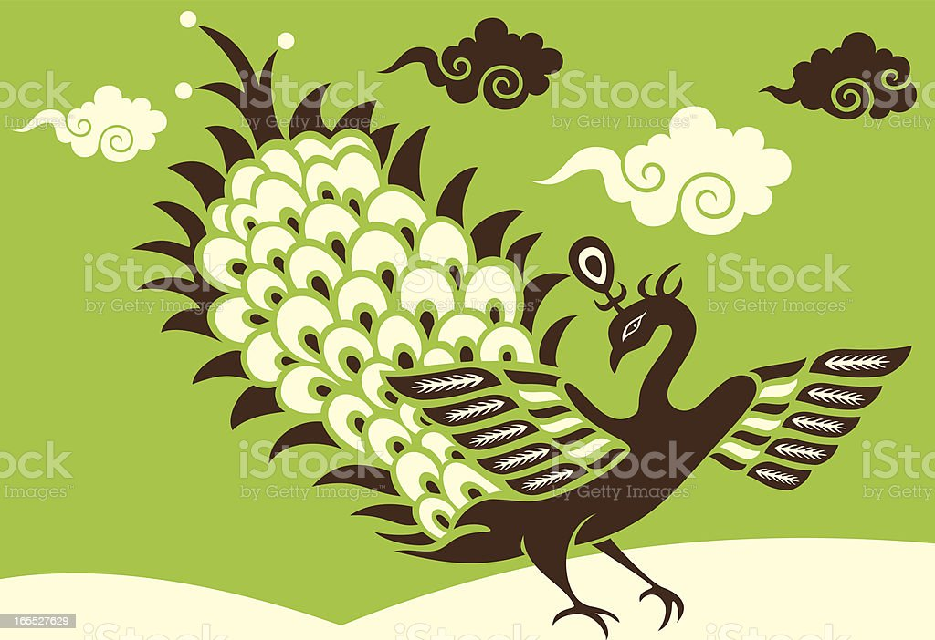 Stylish Peacock & Clouds royalty-free stock vector art