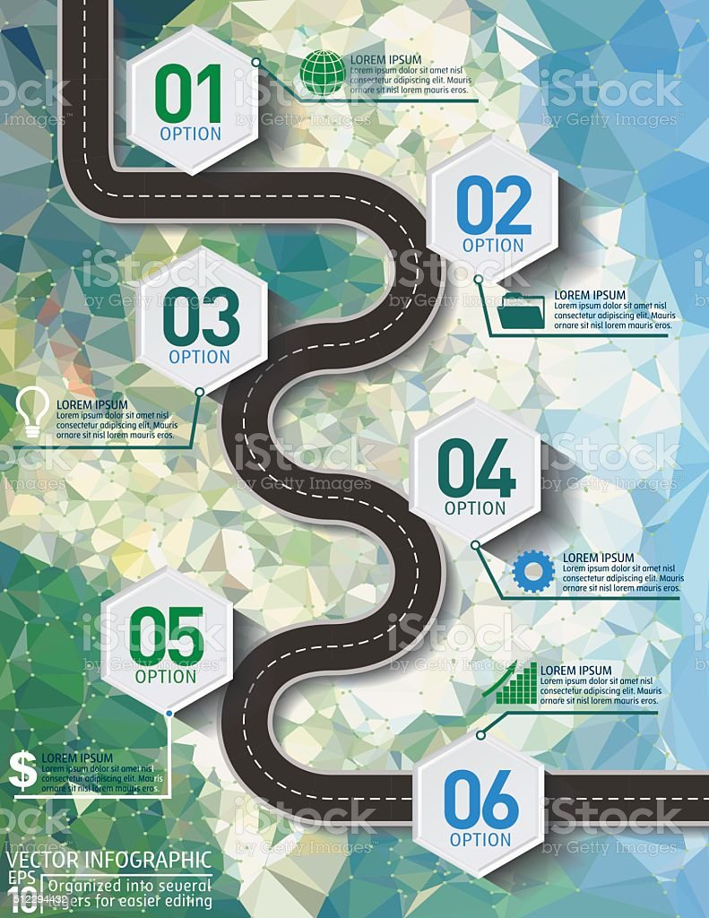 Stylish Roads Infographic On A Cement Texture Background vector art illustration