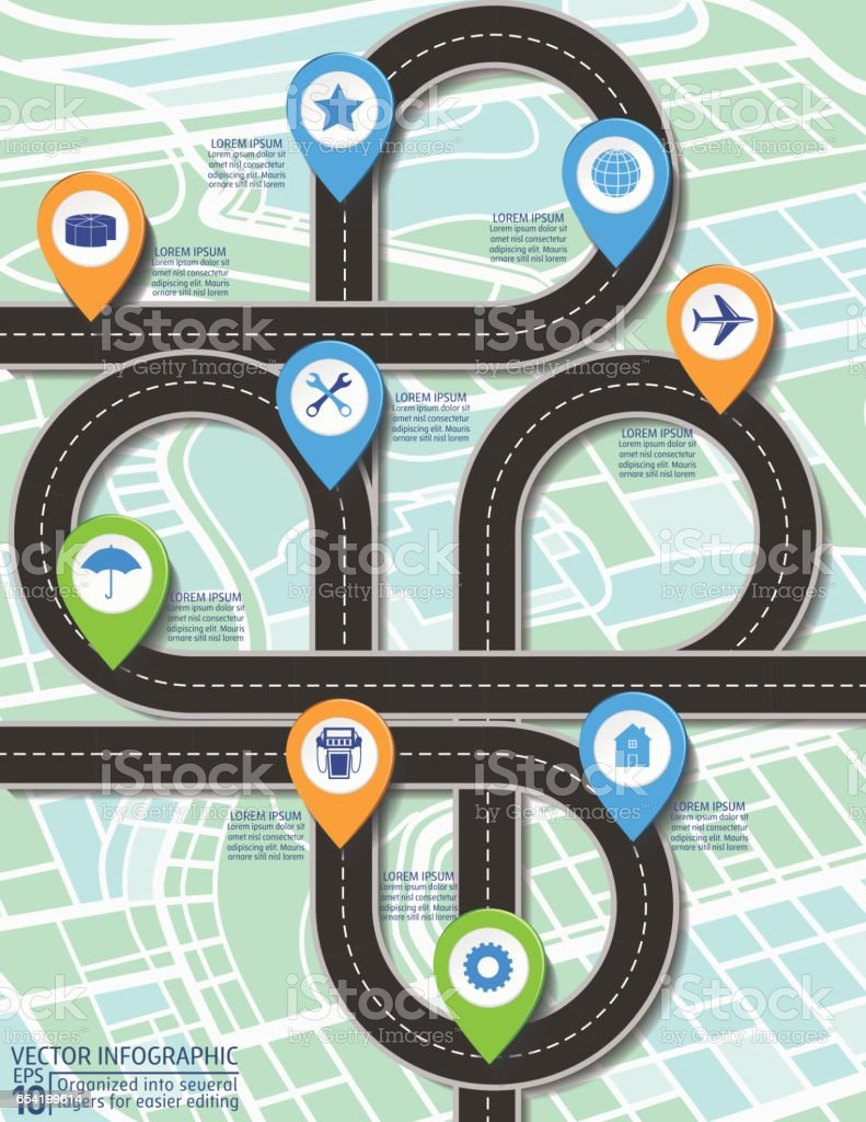 Stylish Roads Timeline Infographic On A City Map Background vector art illustration