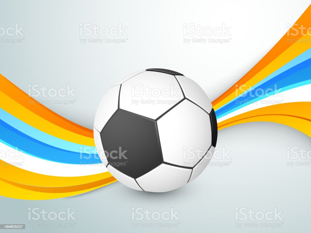 Stylish soccer ball with colorful waves on blue background. royalty-free stock vector art