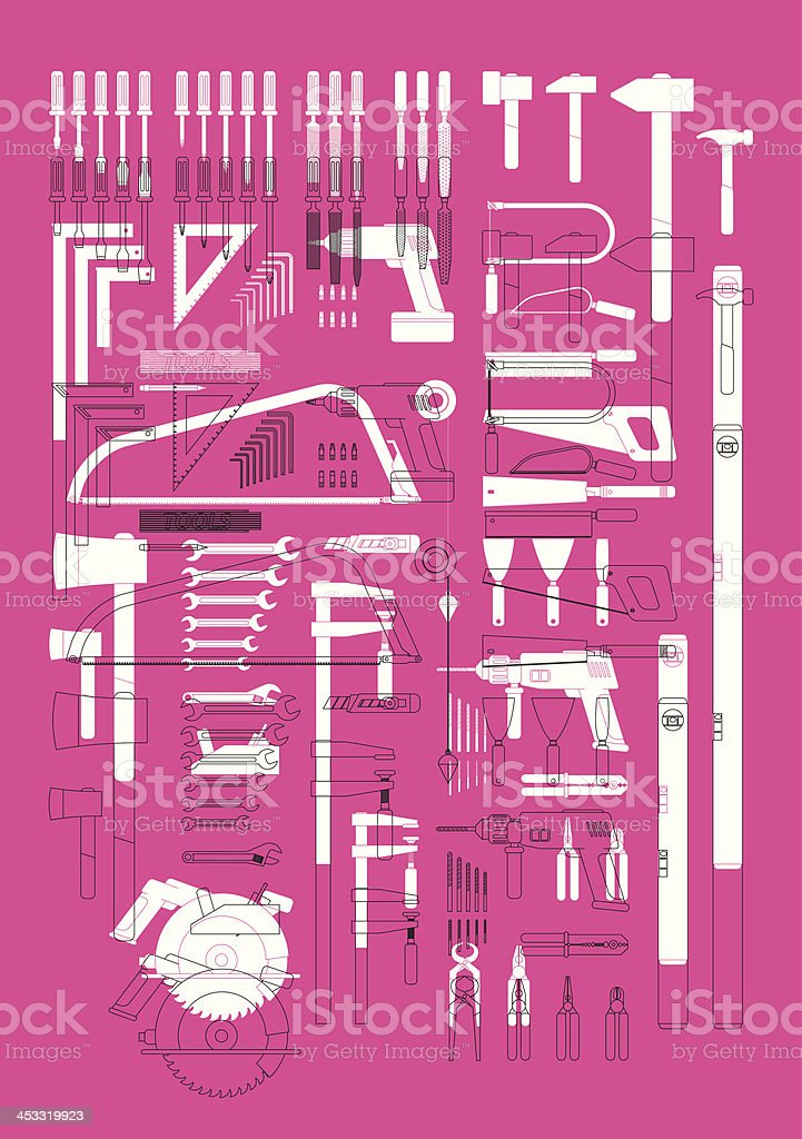 stylish tools composition vector art illustration