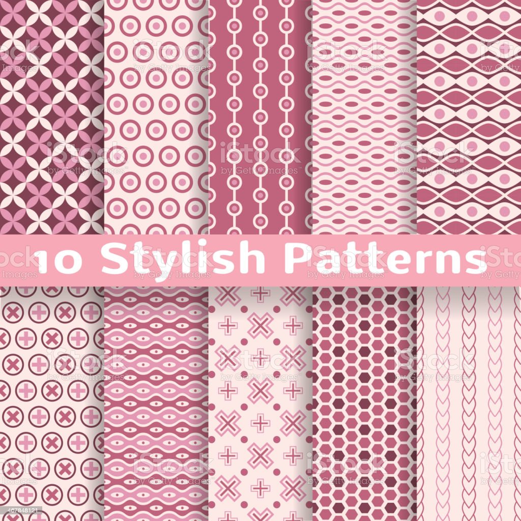 Stylish vector seamless patterns (tiling). Pink color royalty-free stock vector art