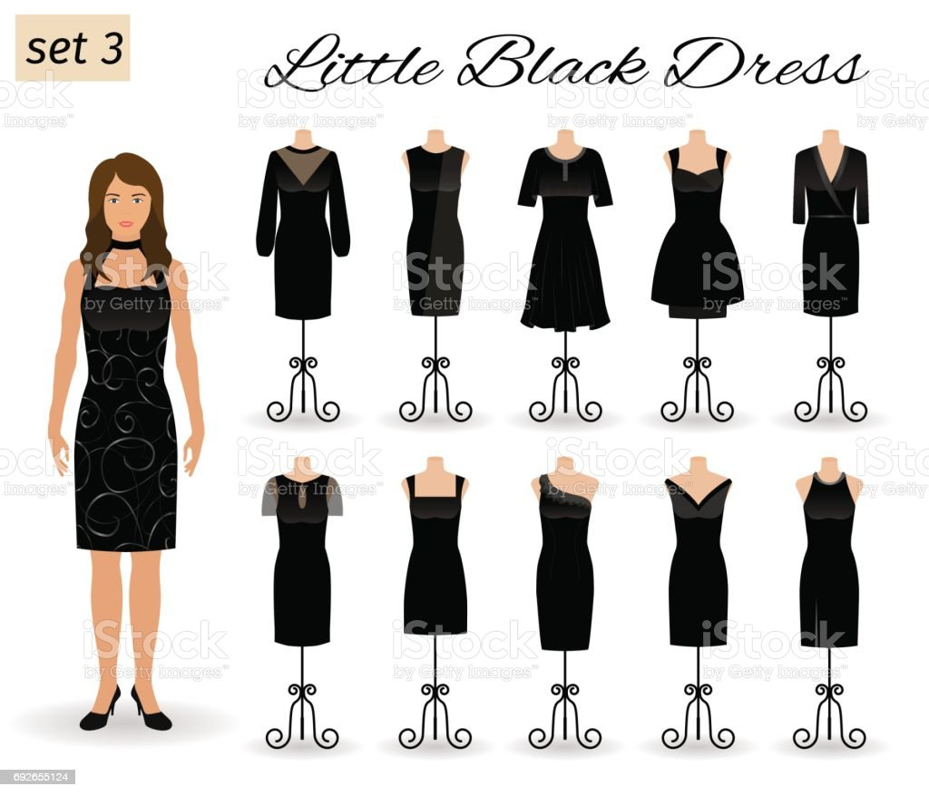 Stylish woman character in little black dress. Set of cocktail dresses on a mannequins. vector art illustration