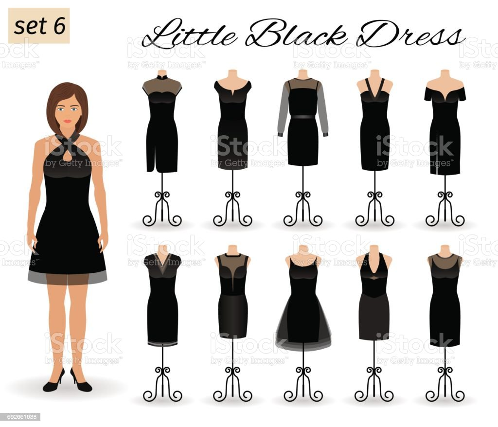 Stylish woman model character in little black dress. Set of cocktail dresses on a mannequins. vector art illustration