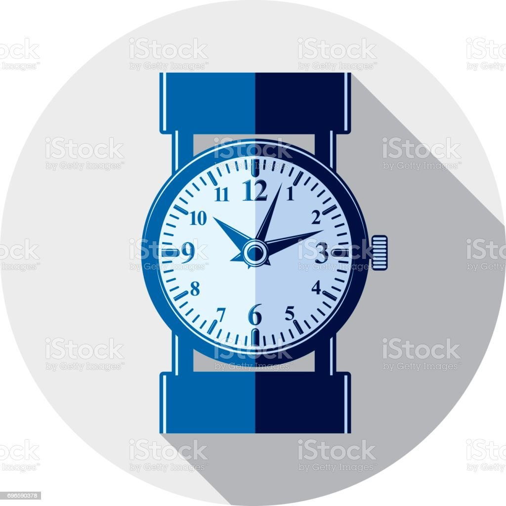 Stylish wristwatch illustration, elegant timepiece with dial and an hour hand. Corporate design emblem or web element. vector art illustration