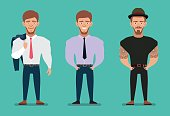 Stylish young man - businessman and hipster. Flat illustration.