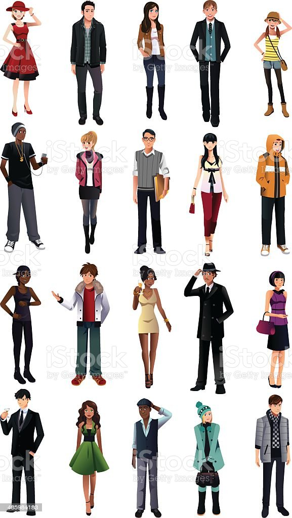 Stylish young people from different ethnicity vector art illustration