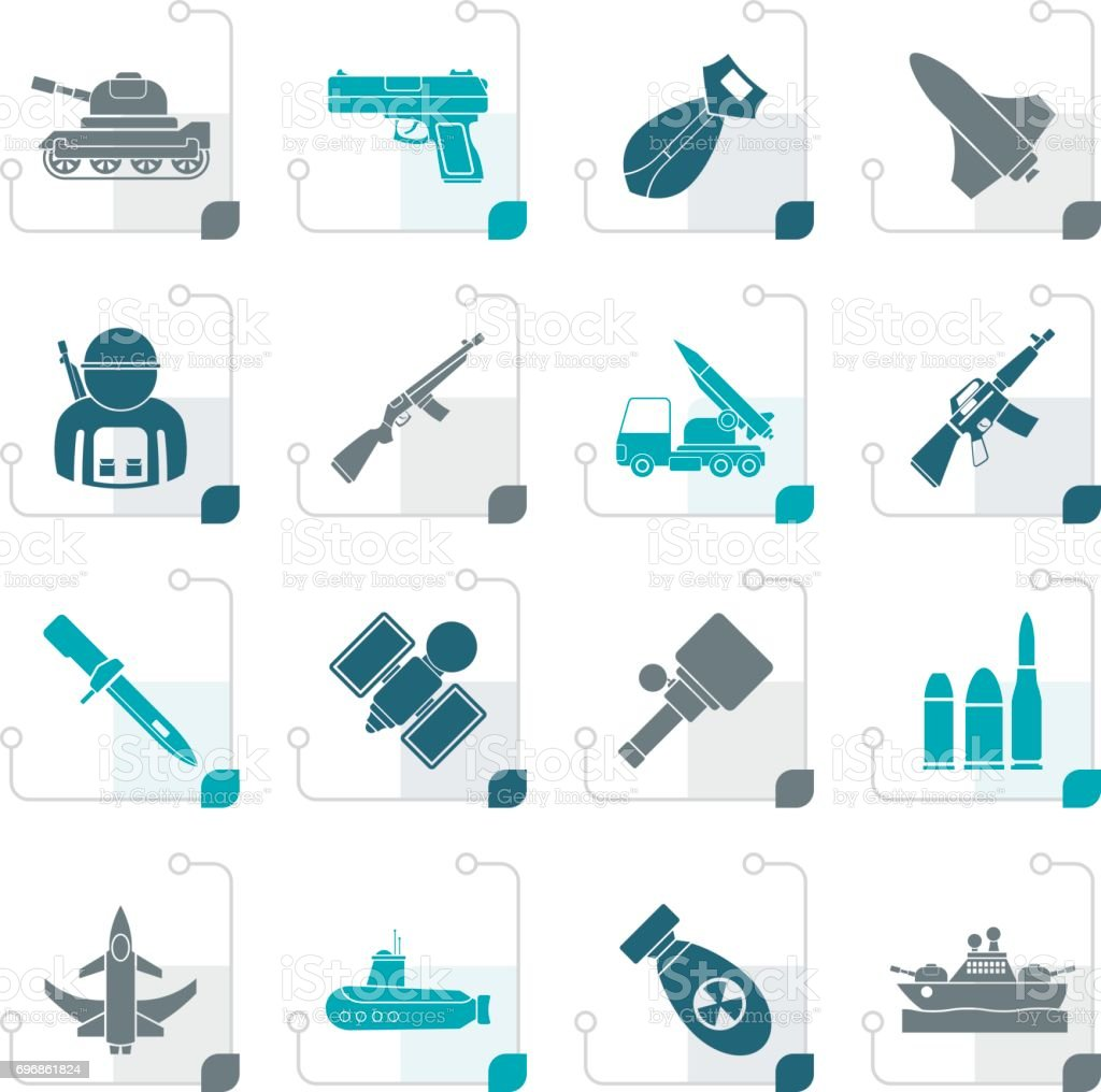 Stylized Army, weapon and arms Icons vector art illustration