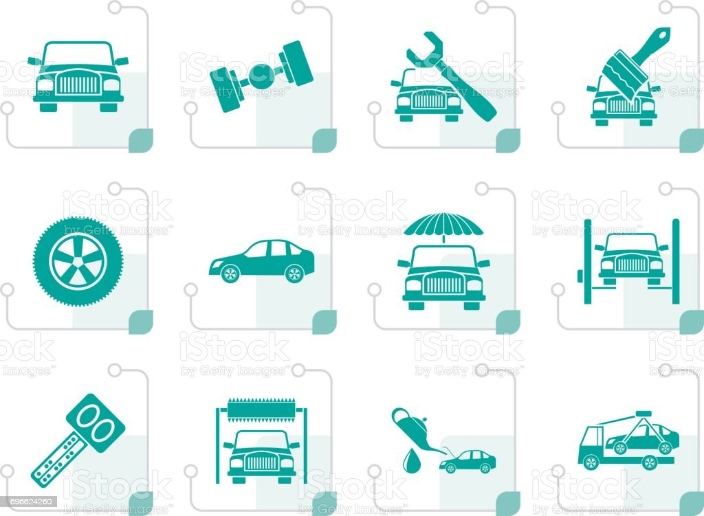 Stylized auto service and transportation icons vector art illustration