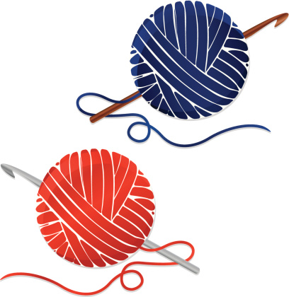 Stylized Balls of Yarn and Crochet Hooks; Icons vector art ...