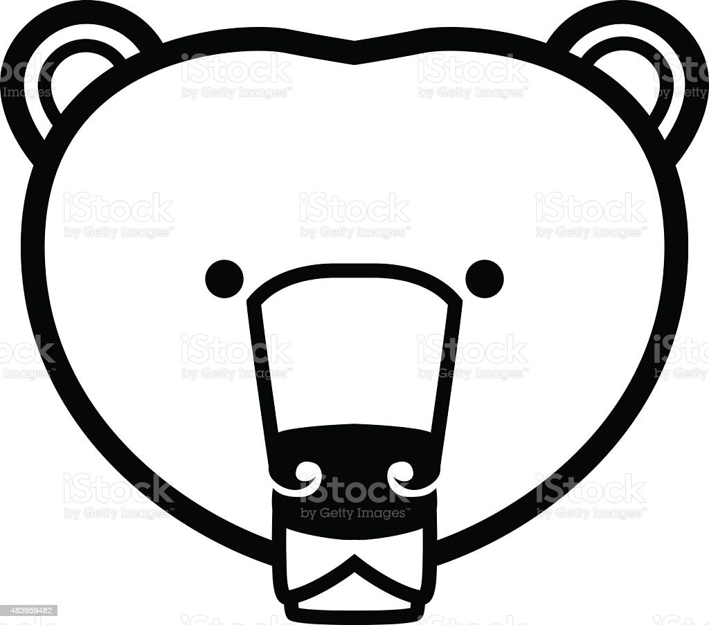 stylized Bear face vector art illustration