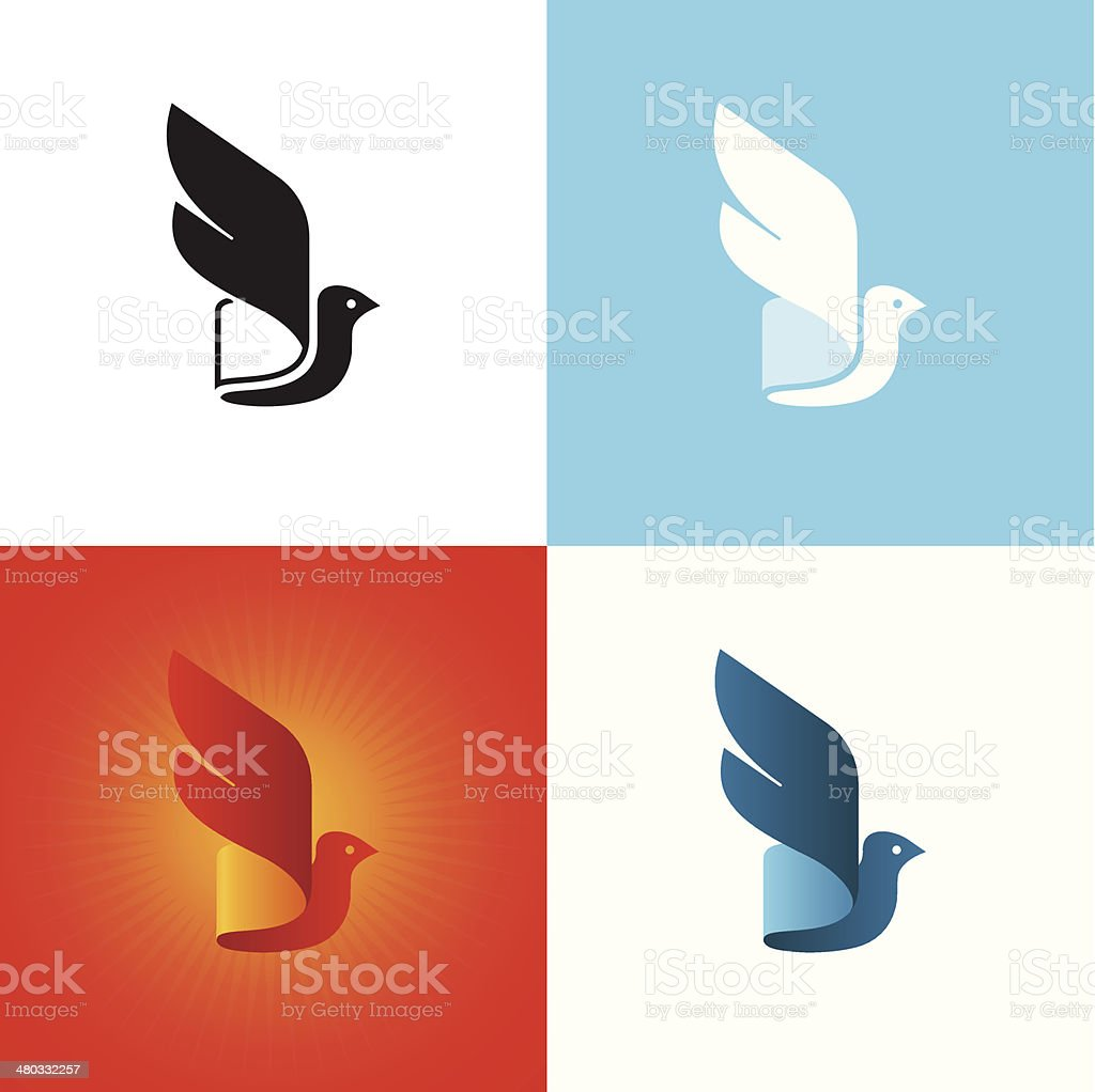 Stylized bird silhouette at different color variations. vector art illustration