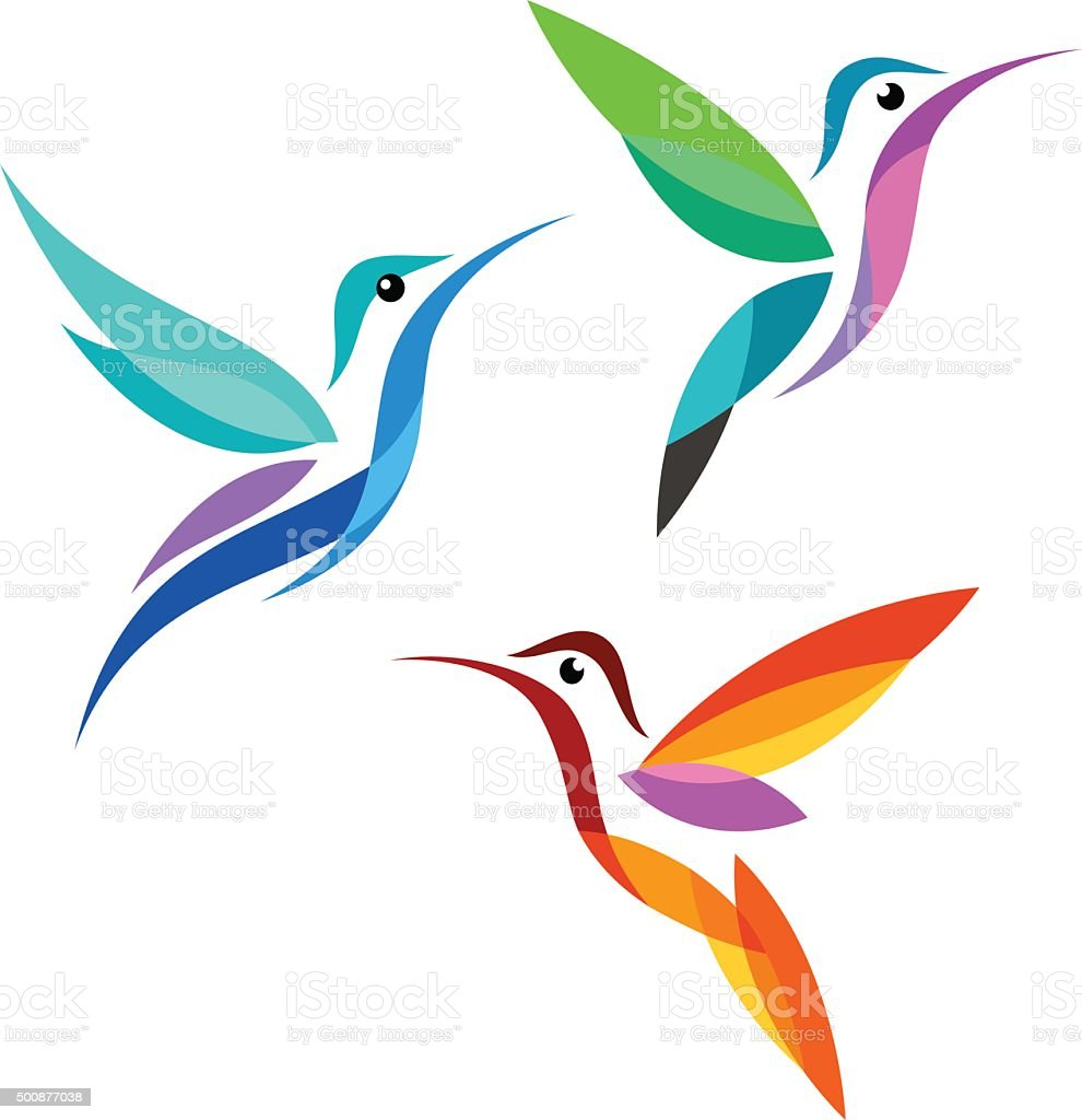 Stylized Birds vector art illustration