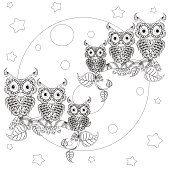 Stylized black and white owls on branches, full moon