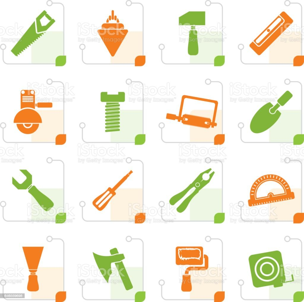 Stylized Building and Construction Tools icons vector art illustration