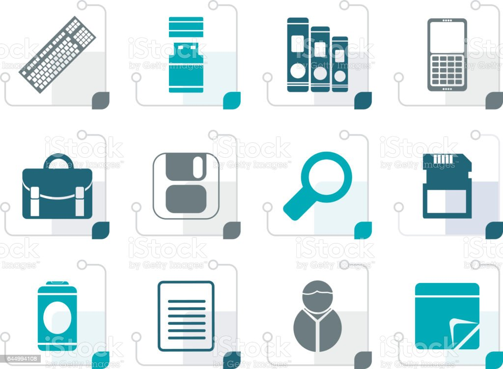 Stylized Business and Office tools icons vector art illustration