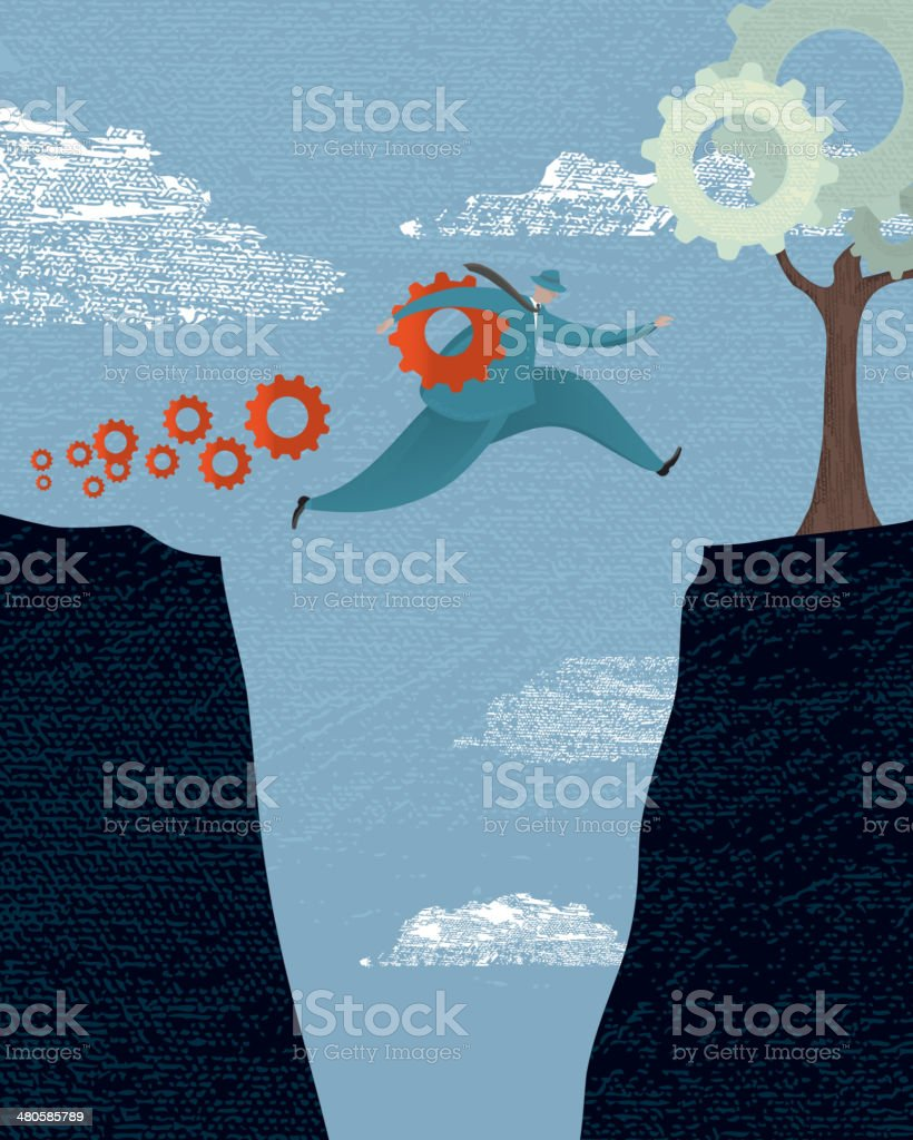 Stylized business collapsing risk concept vector art illustration