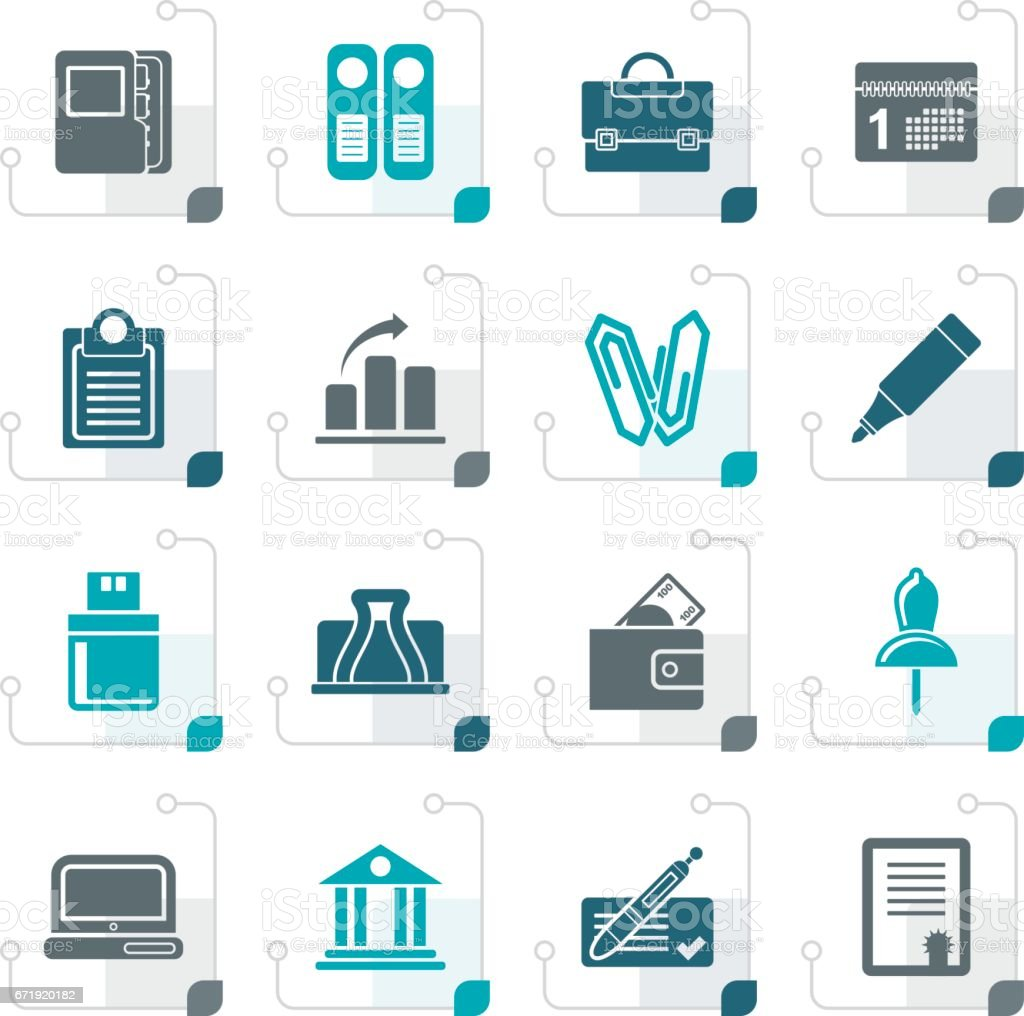 Stylized Business, Office and Finance Icons vector art illustration