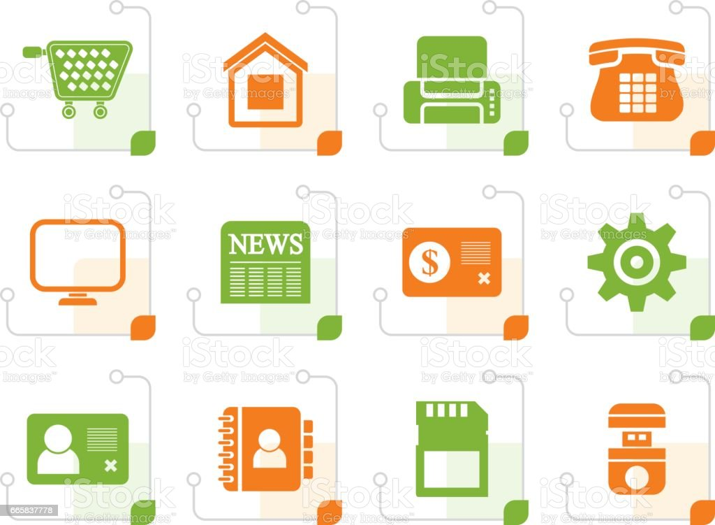Stylized Business, office and website icons vector art illustration