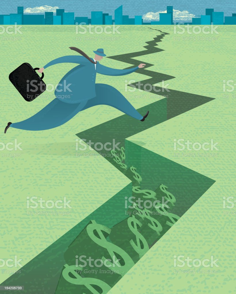 Stylized business pitfall concept vector art illustration