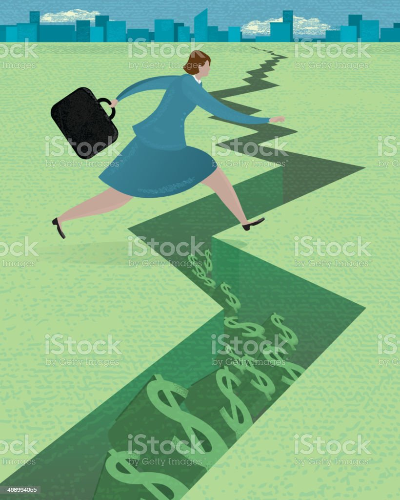 Stylized business woman in money pitfall concept royalty-free stock vector art