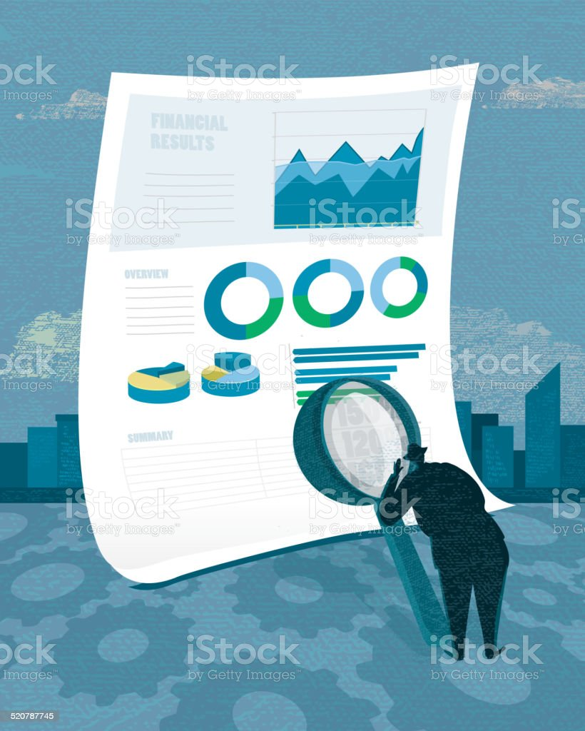 Stylized businessman analyzing a financial document vector art illustration