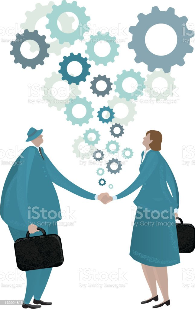 Stylized businessman and business woman handshake on white royalty-free stock vector art