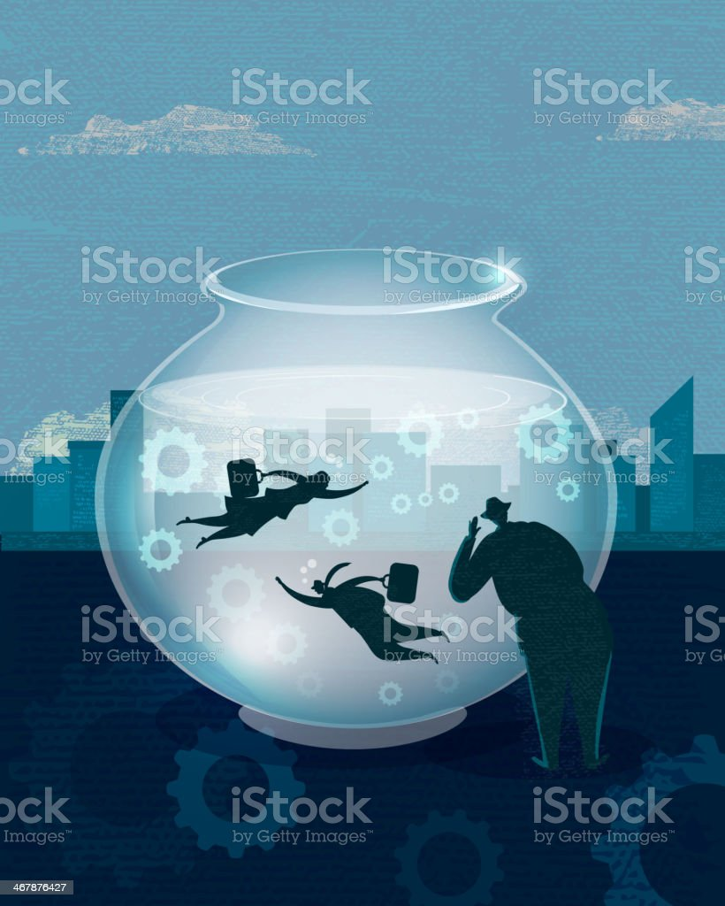Stylized businessman concept fish bowl vector art illustration