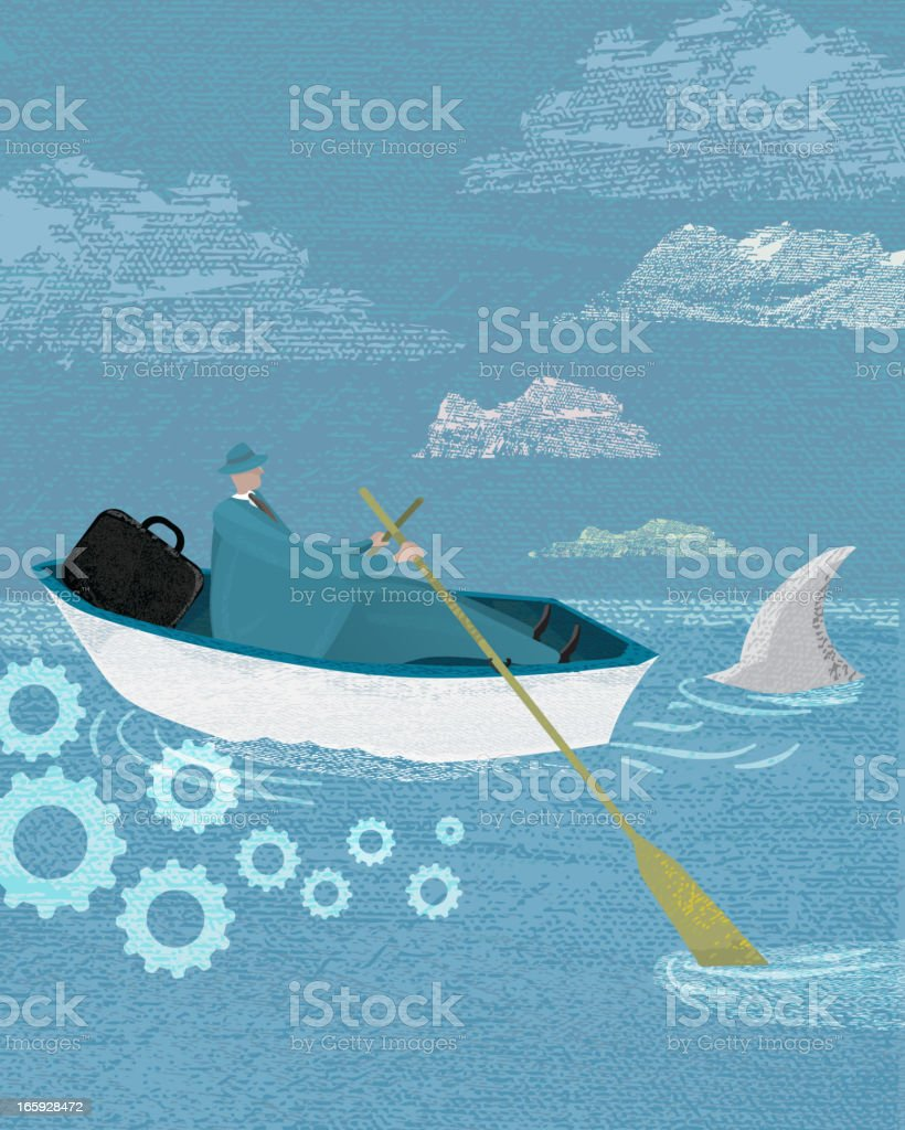 Stylized businessman concept in boat with shark fin royalty-free stock vector art