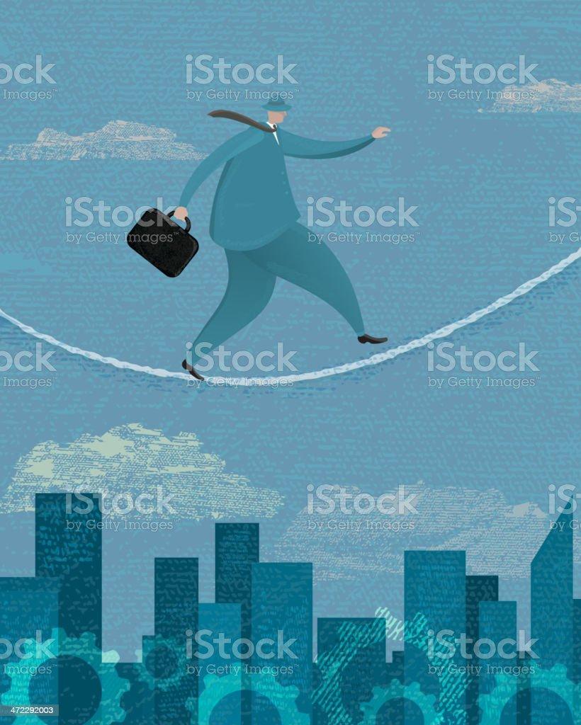 Stylized businessman walking a tightrope vector art illustration