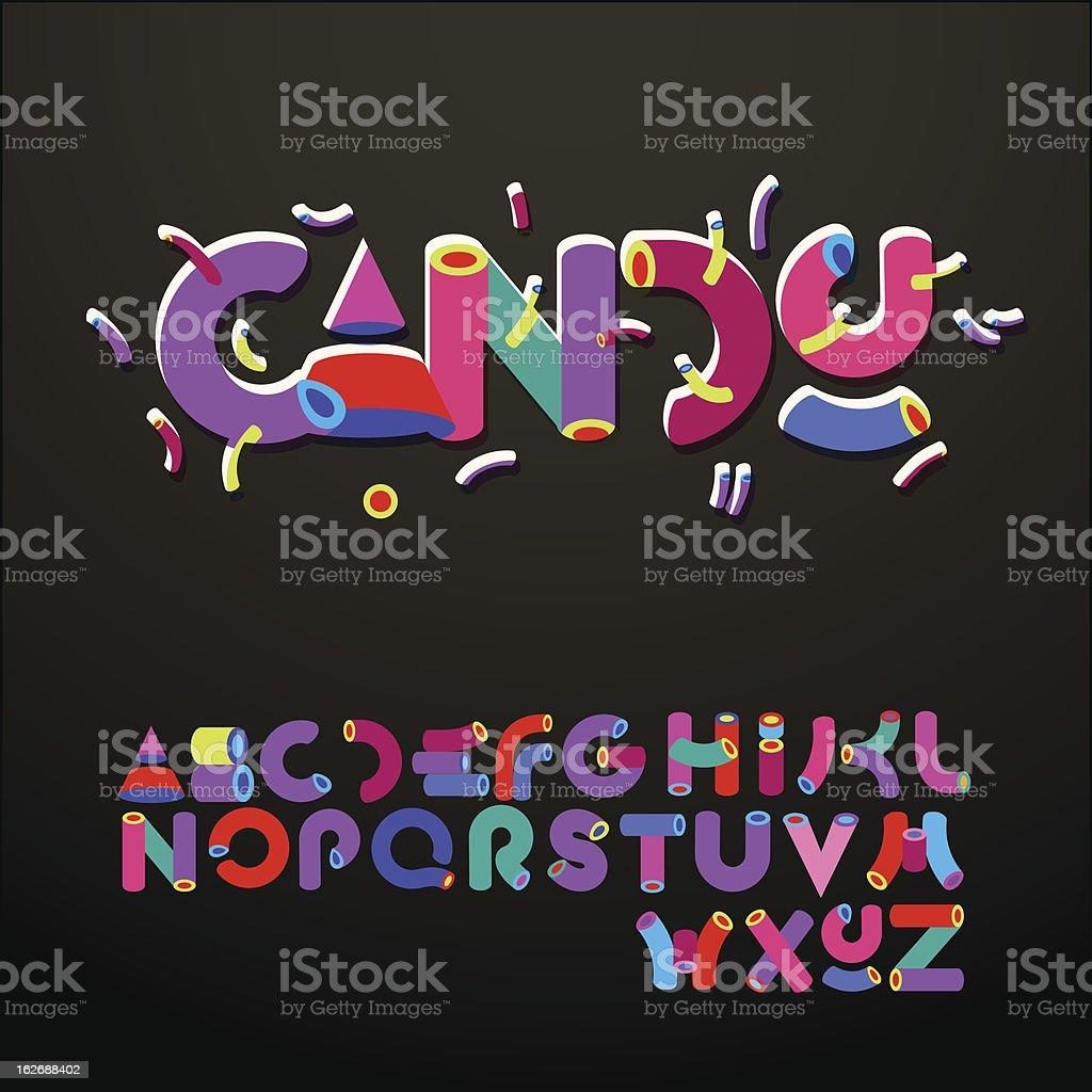 Stylized candy-like alphabets royalty-free stock vector art