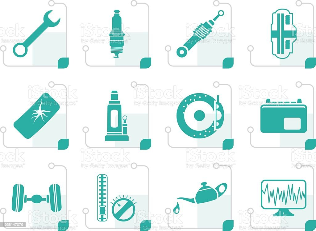 Stylized Car Parts and Services icons vector art illustration