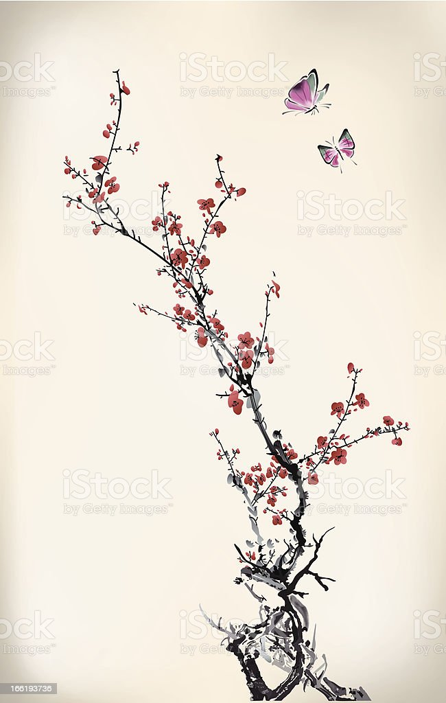 Stylized cherry blossom branches with flying butterflies vector art illustration