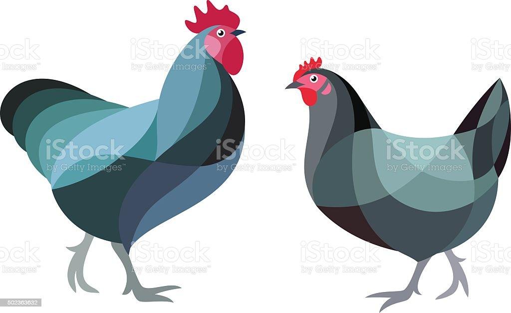 Stylized Chicken vector art illustration