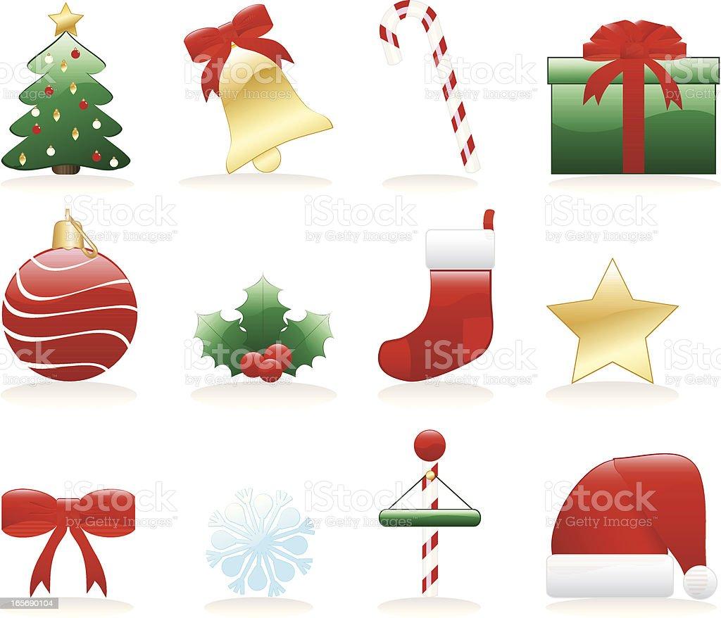 Stilisierte Weihnachts-Icons, Verzierungen-Satz von zwölf Lizenzfreies vektor illustration
