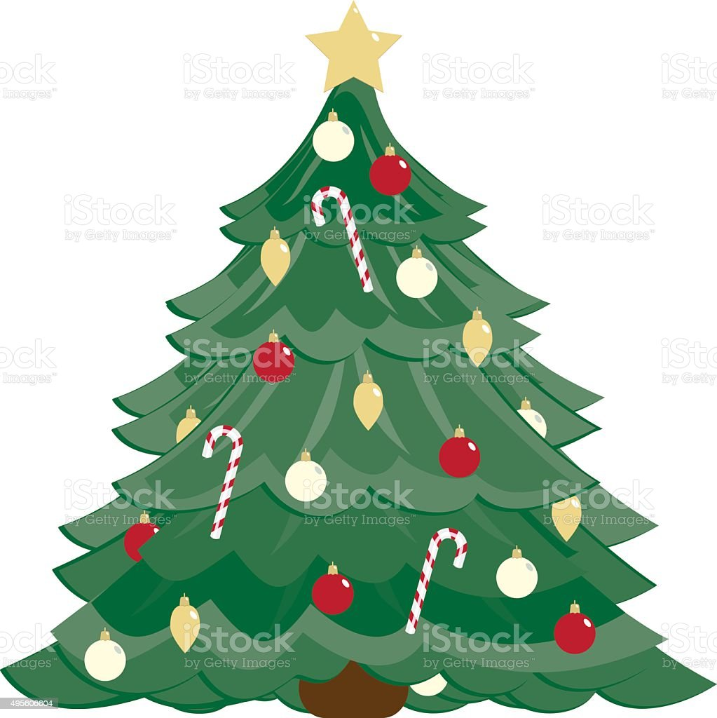 Stylized Christmas Tree, Ornaments, Candy Canes vector art illustration