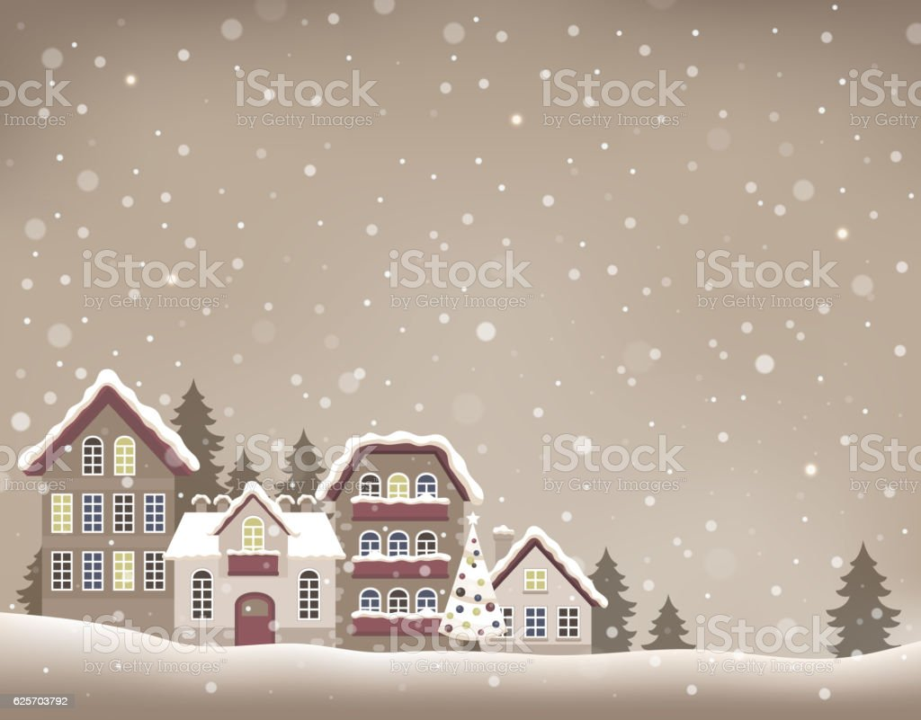 Stylized Christmas village theme image 1 vector art illustration