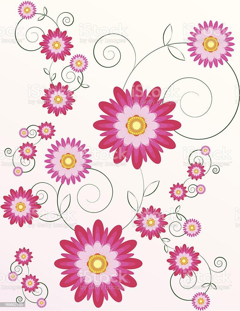 Stilisierte Chrysanthemums Blumen Hintergrund-Design mit eleganten Kalligrafische Swirls Lizenzfreies vektor illustration