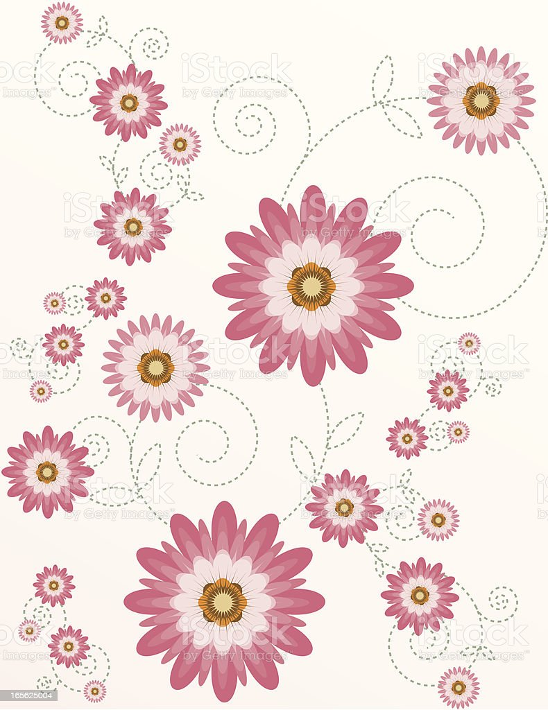 Stilisierte Chrysanthemums Floral Hintergrund-Design mit anmutigen Sitzplätzen Lizenzfreies vektor illustration