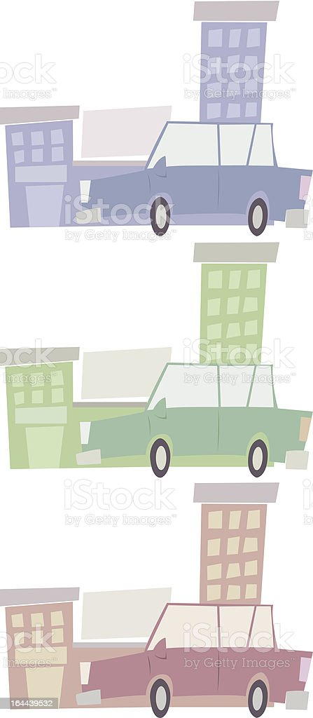 Stylized Cityscape and Car royalty-free stock vector art