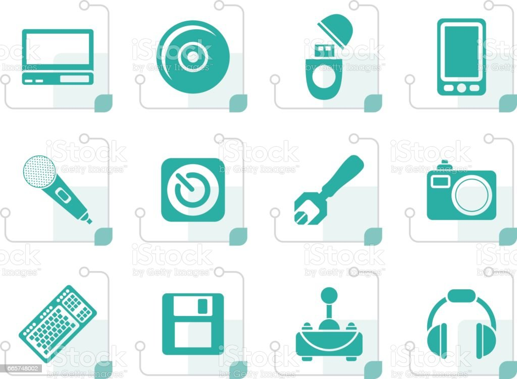 Stylized Computer and mobile phone elements icons vector art illustration