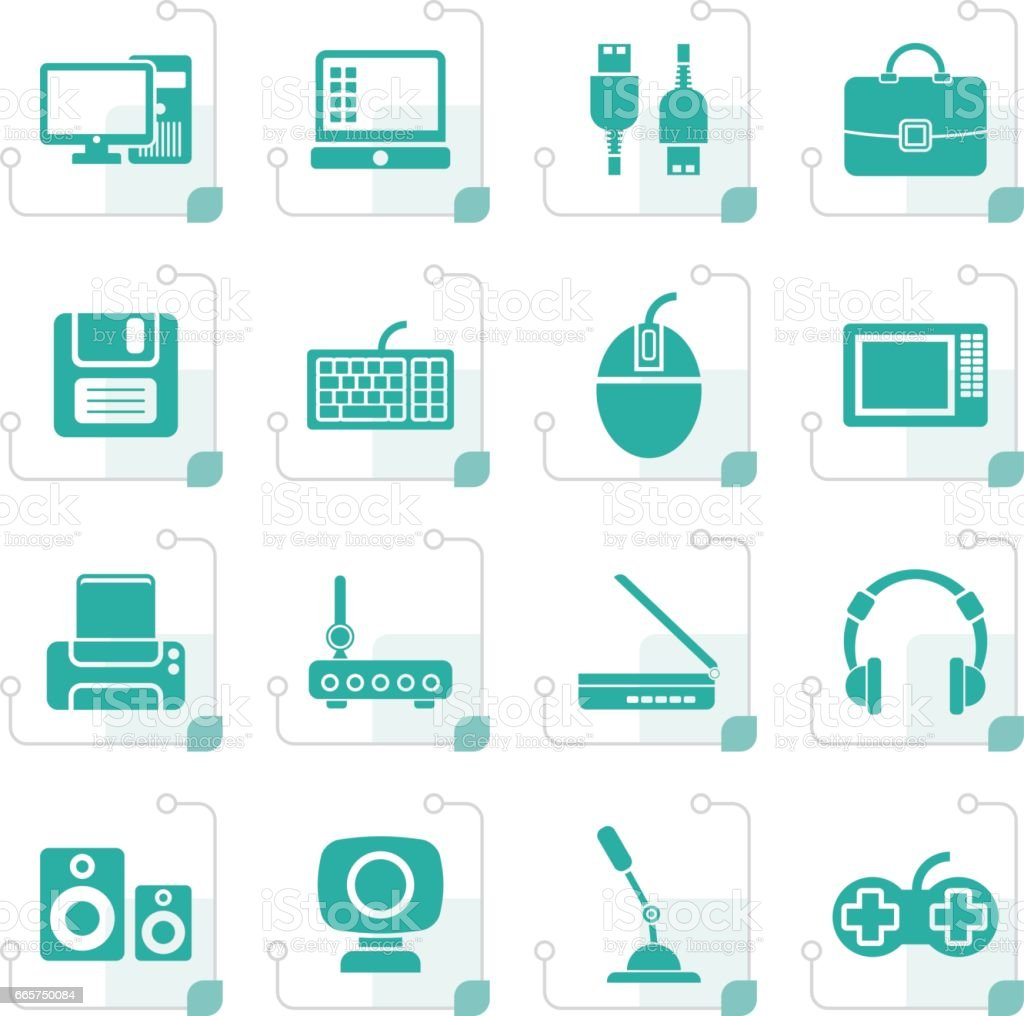 Stylized Computer equipment and periphery icons vector art illustration