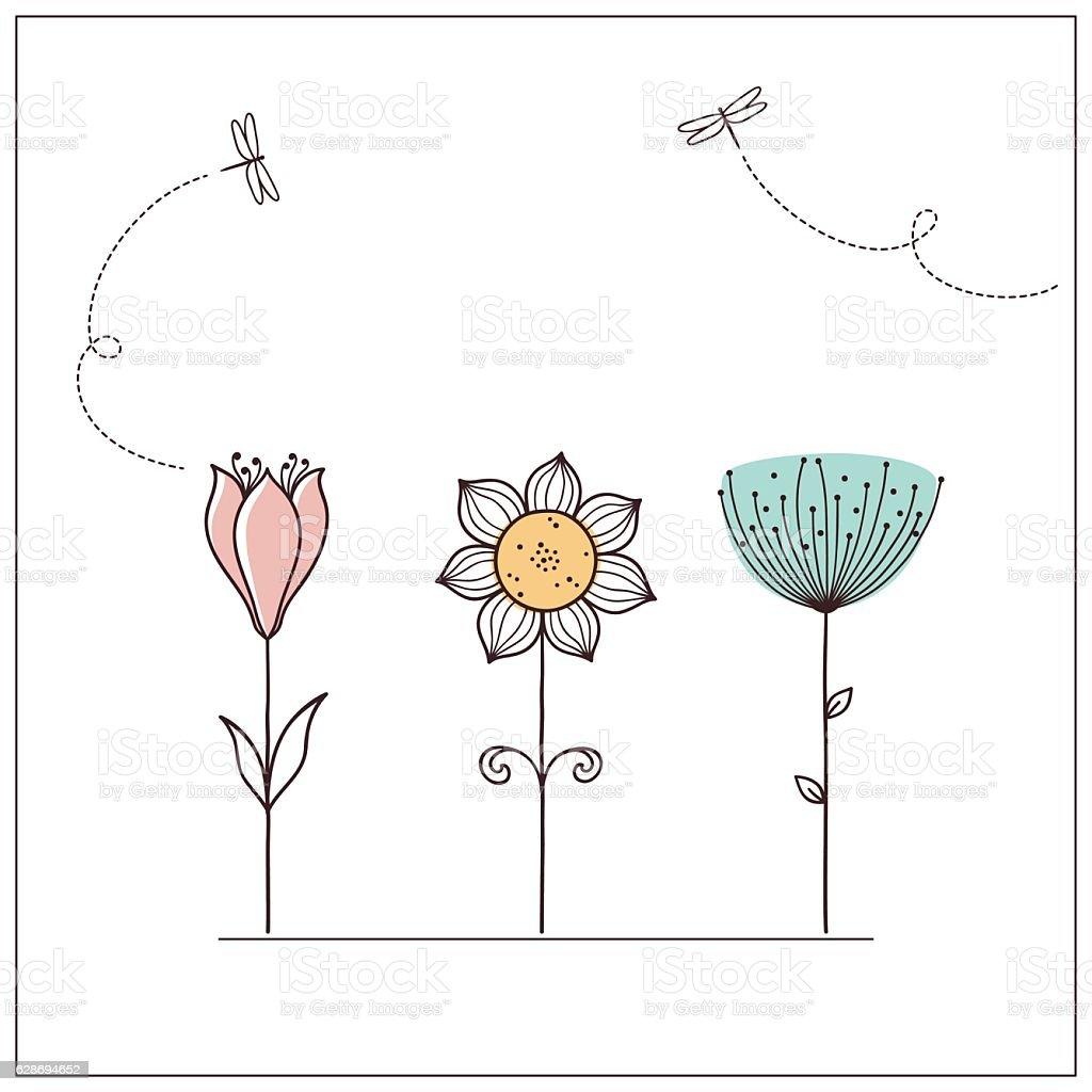 Stylized doodle flowers vector art illustration